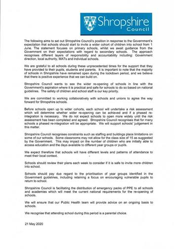 - Shropshire Council's Schools reopening position statement